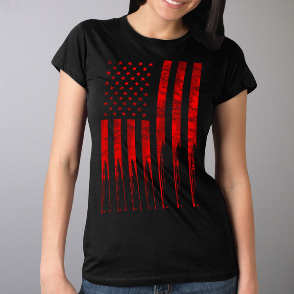 Hot Leathers GLR1498 'Flag and Bullets' Full Cut Ladies Black T-Shirt