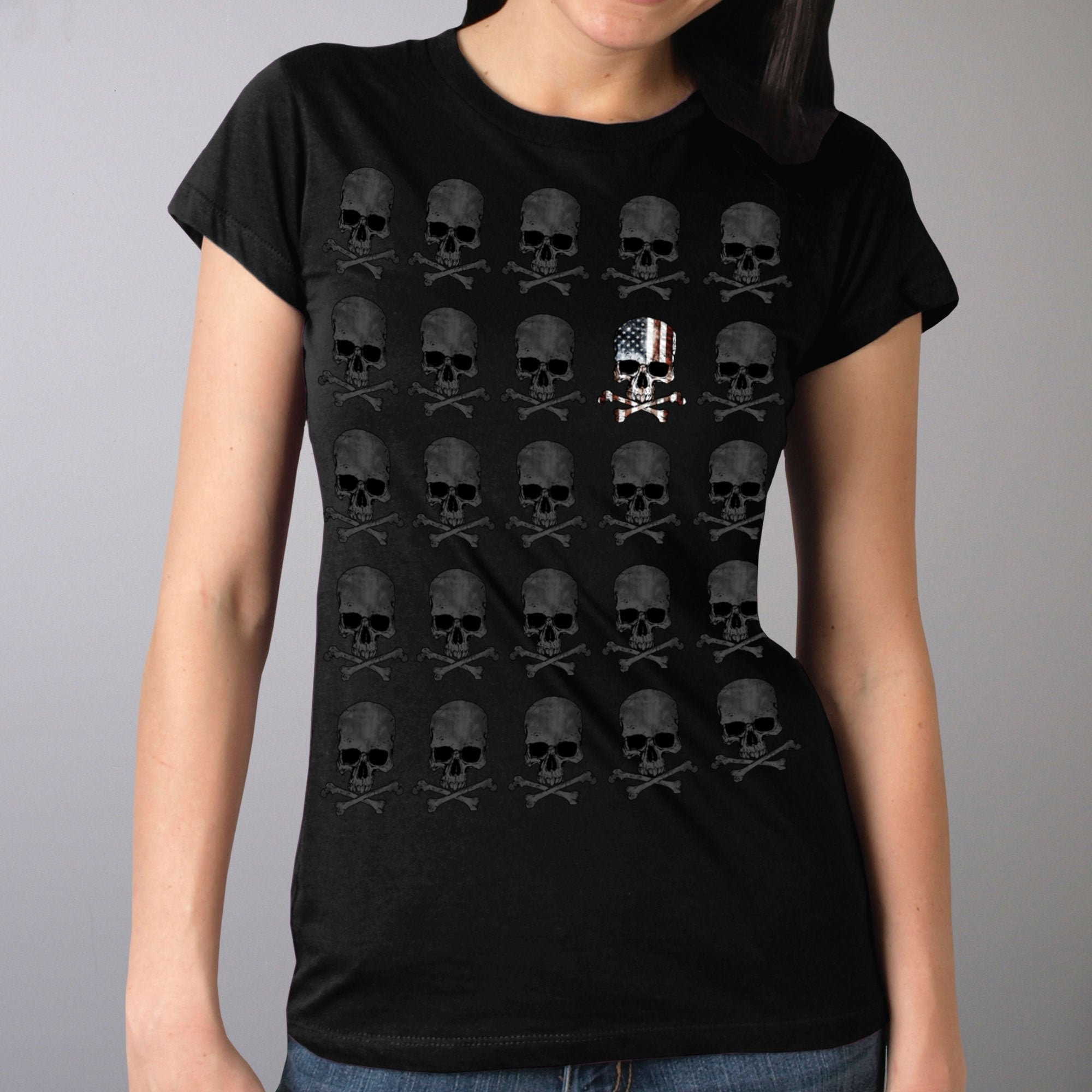 Hot Leathers GLR1513 Skull Pattern Full Cut Ladies Black T-Shirt