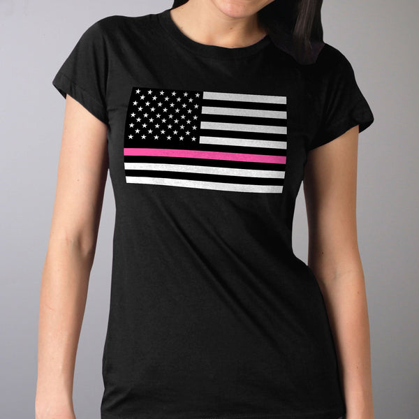 Hot Leathers GLR1515 Ladies Full Cut Thin Pink Line American Flag Black T-Shirt