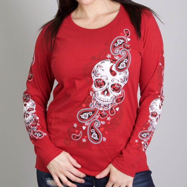 Hot Leathers GLR3409 Indy Red 'Sugar Paisley' Ladies Long Sleeve Shirt