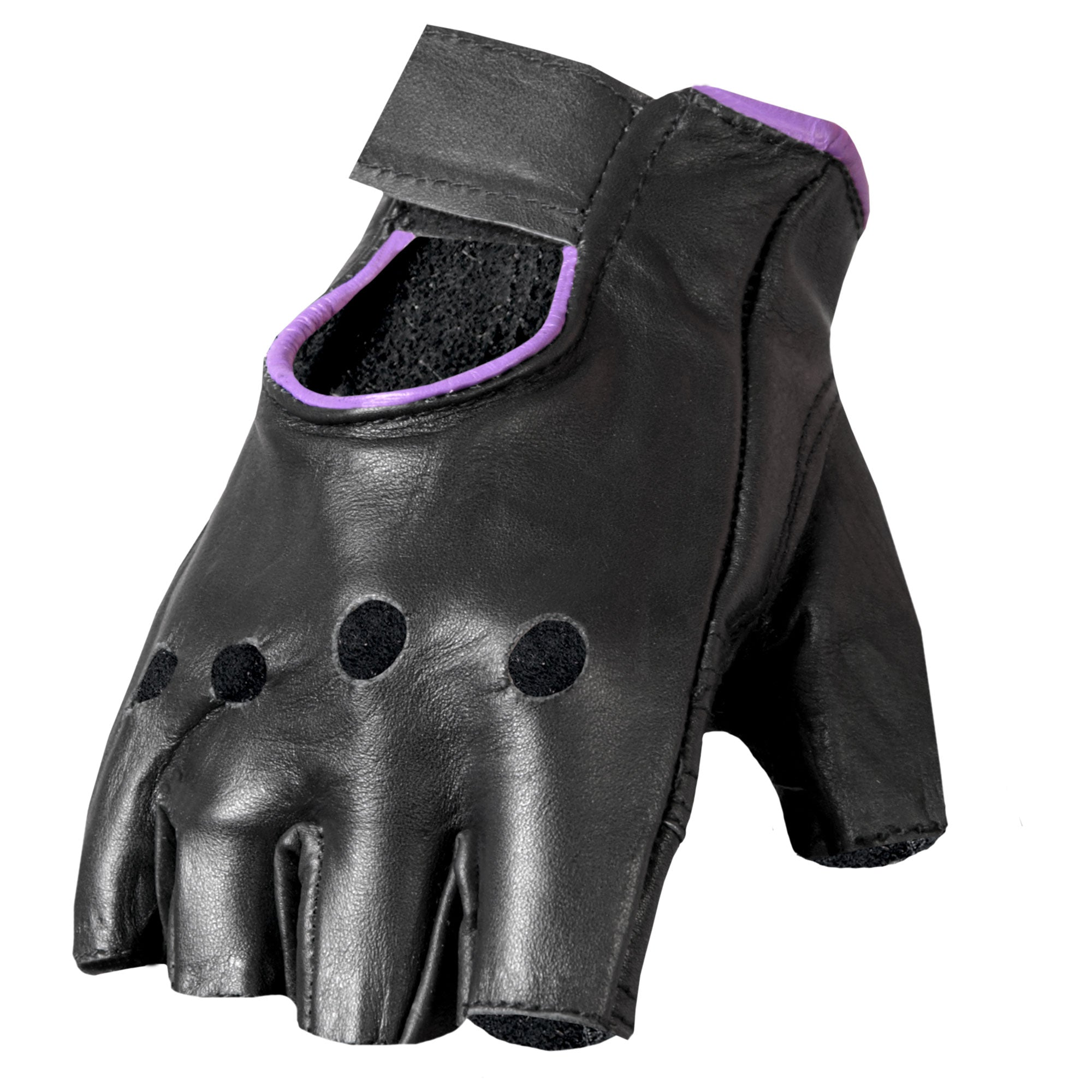 Hot Leathers GVL1005 Ladies Purple Piping Fingerless Gloves