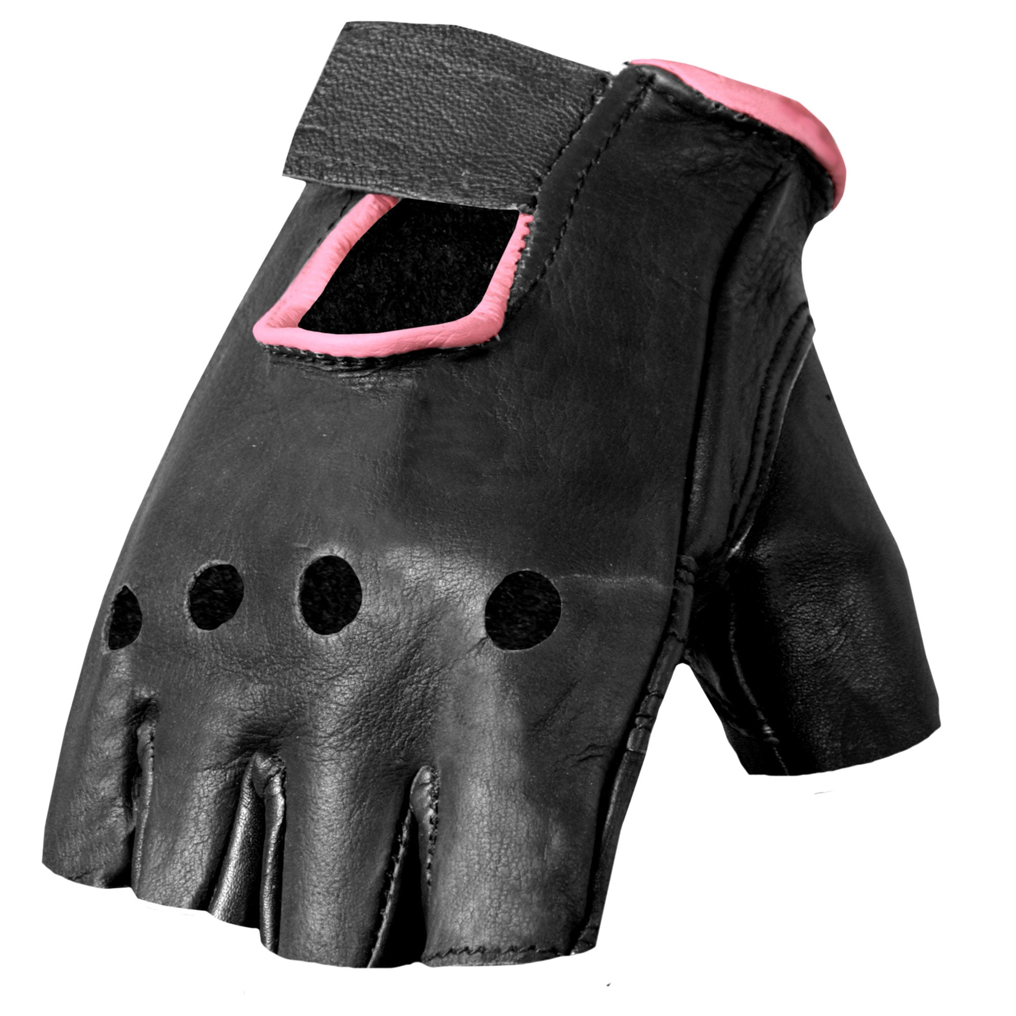 Hot Leathers GVL1006 Ladies Pink Piping Fingerless Gloves