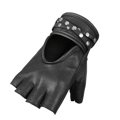 Hot Leathers GVL1010 Ladies Fingerless Gel Palm Gloves with Studs