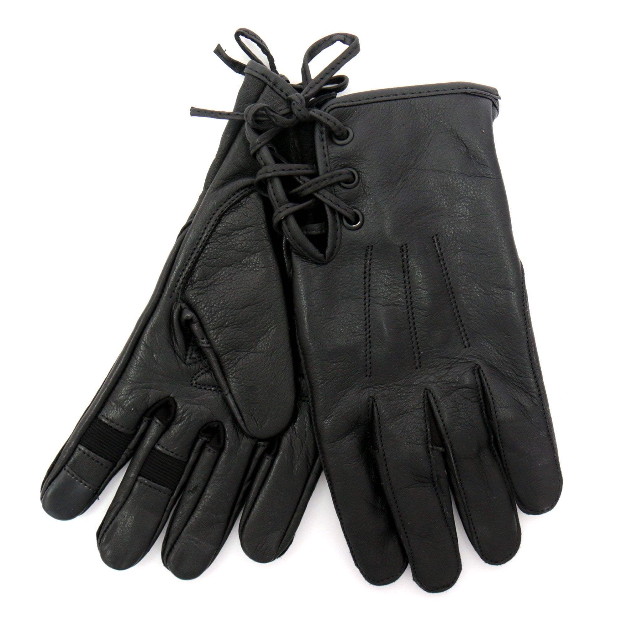 Hot Leathers GVL1011 Black Side Lace Ladies Leather Glove