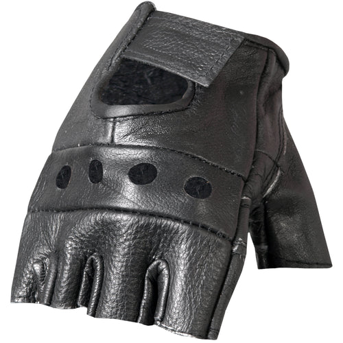 Hot Leathers GVM1004 Unlined Fingerless Leather Gloves with Padded Palm