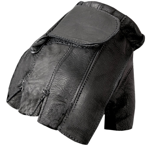 Hot Leathers GVM1011 Naked Leather Unlined Fingerless Gloves with Padded Gel Palm