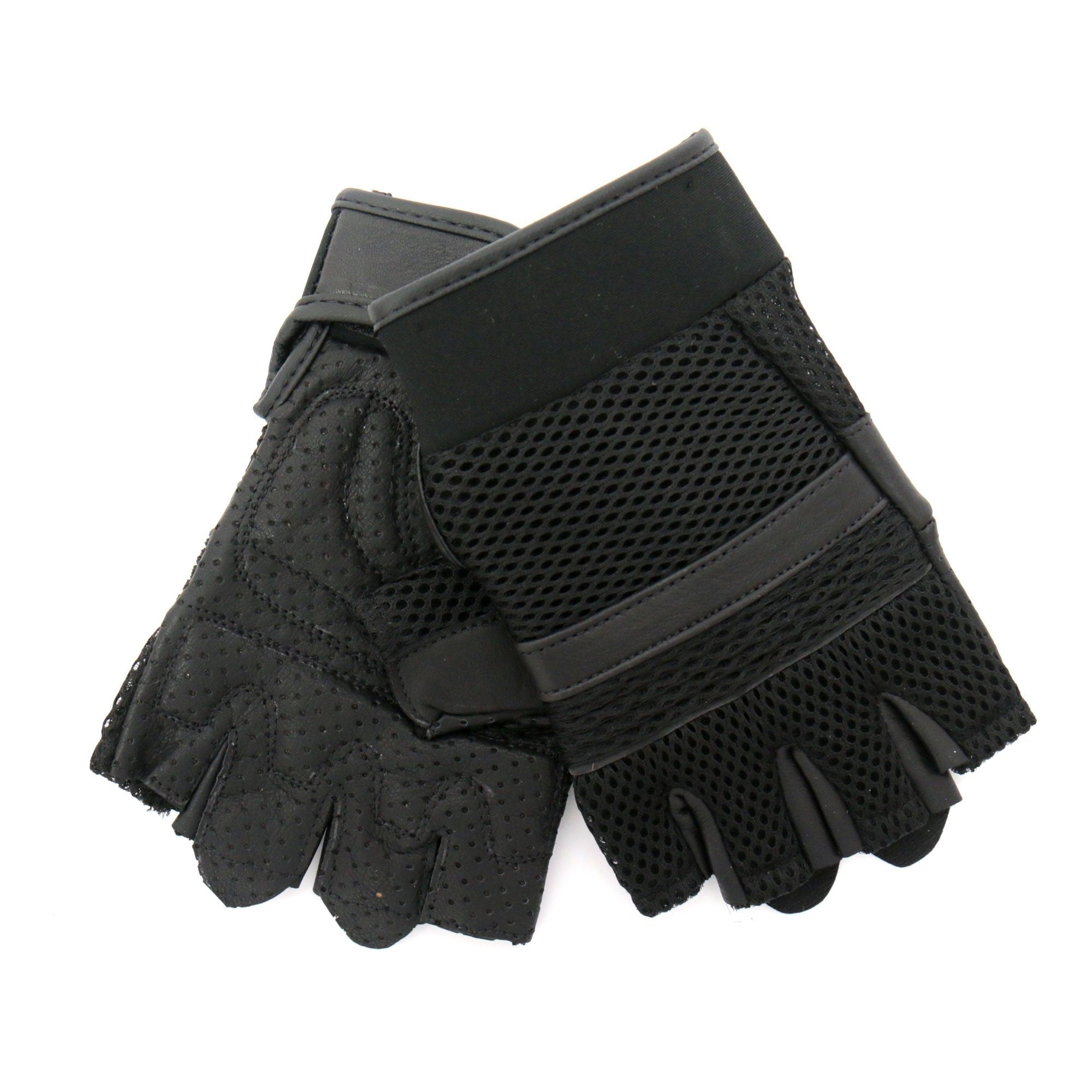 Hot Leathers GVM1026 Mens Black Leather and Mesh Fingerless Gloves