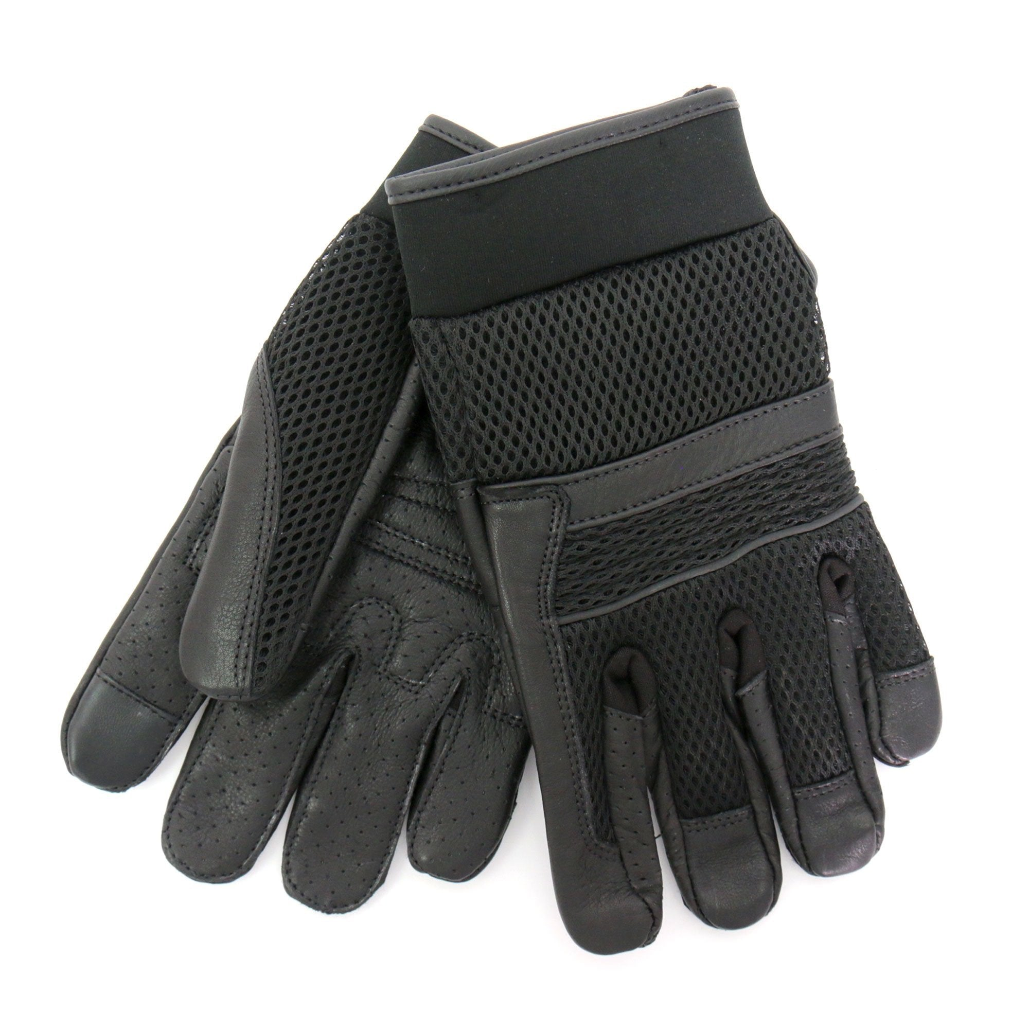 Hot Leathers GVM1027 Mens Mesh and Leather Gloves with Piping
