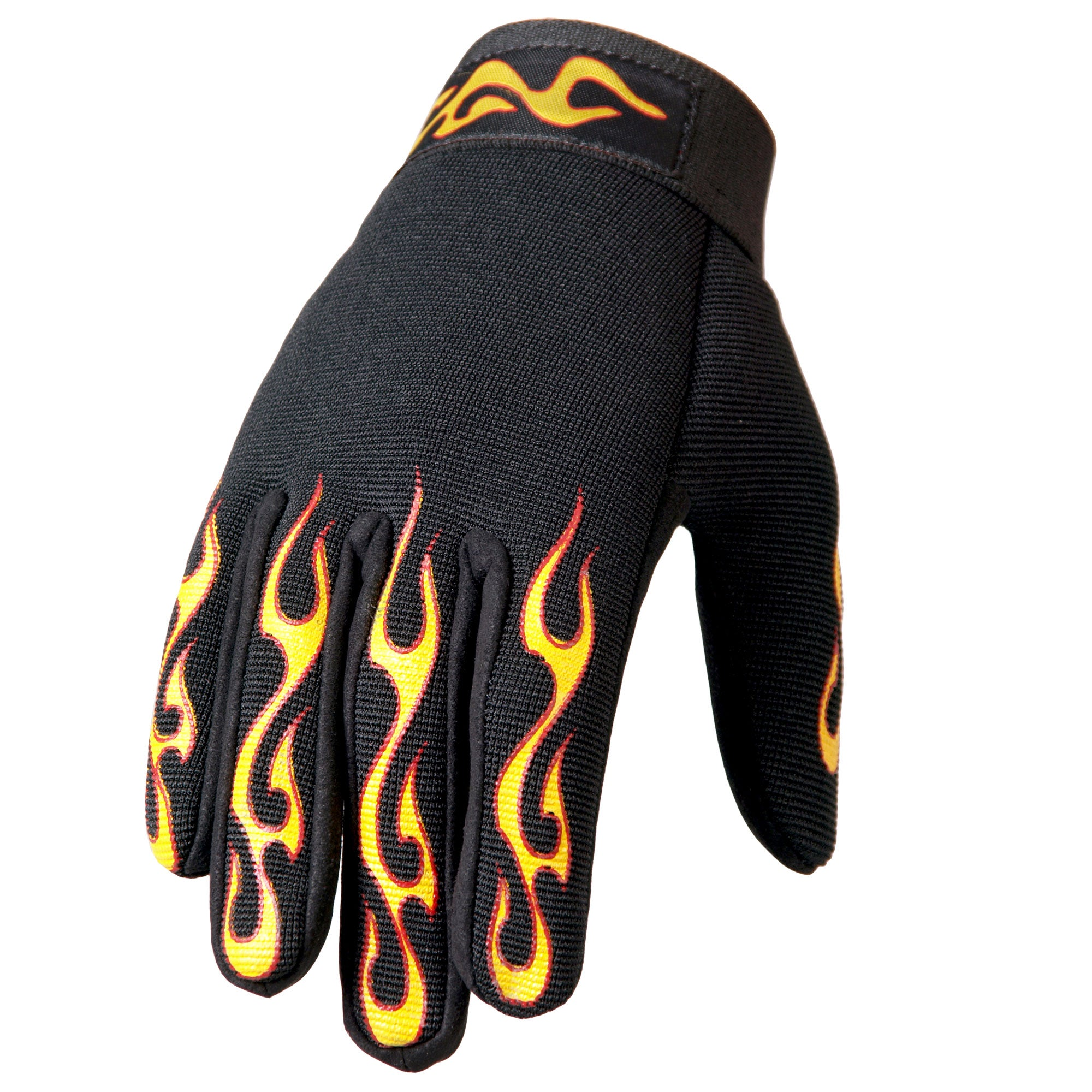 Hot Leathers GVM2004 Yellow and Red Flame Mechanics Gloves