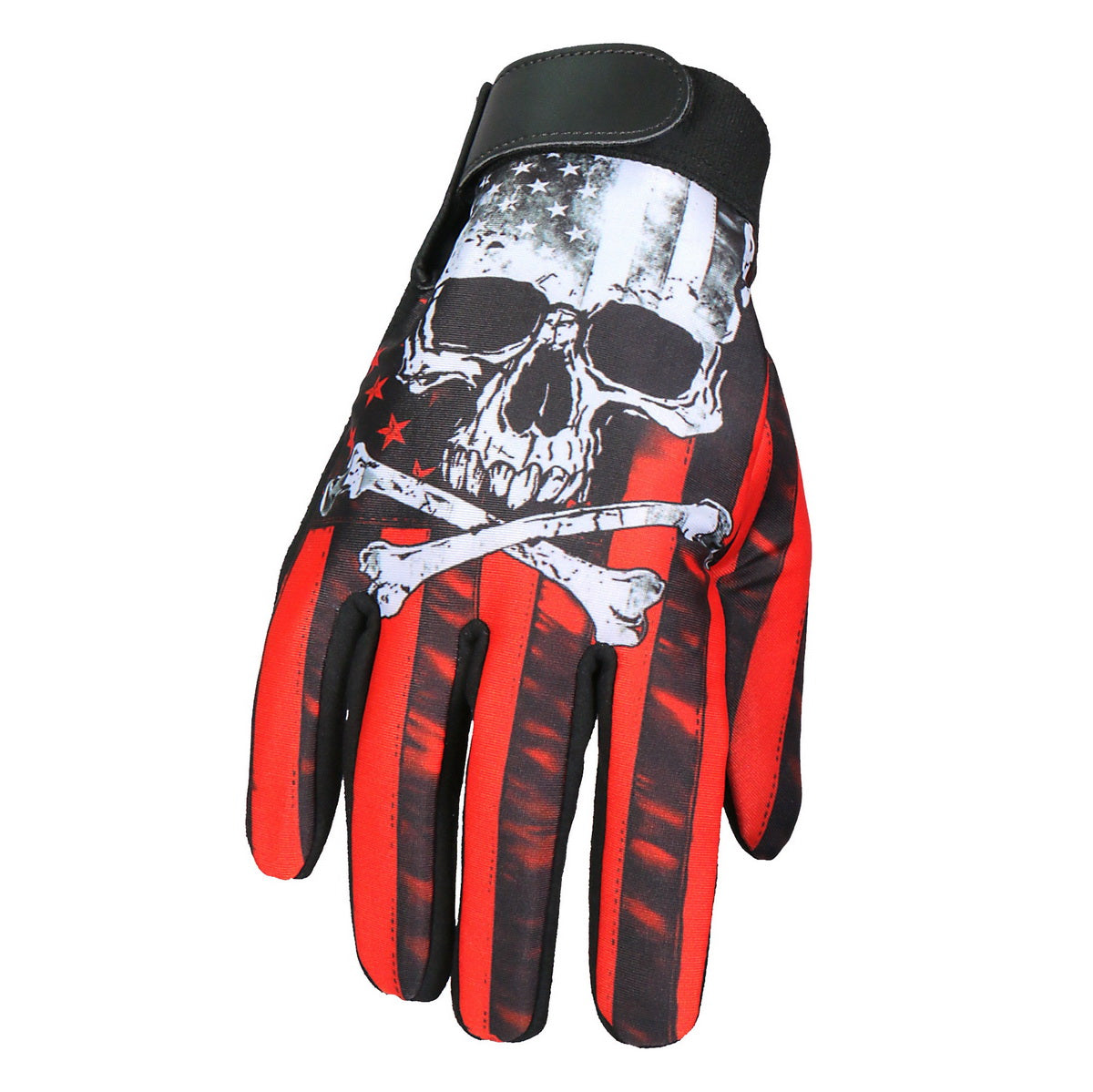 Hot Leathers GVM3003 Flag Skull Mechanics Glove