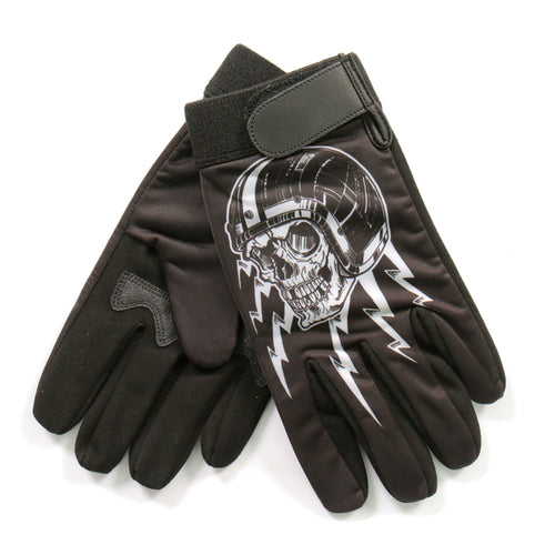 Hot Leathers GVM3005 Sublimated 3/4 Skull Mechanics Glove