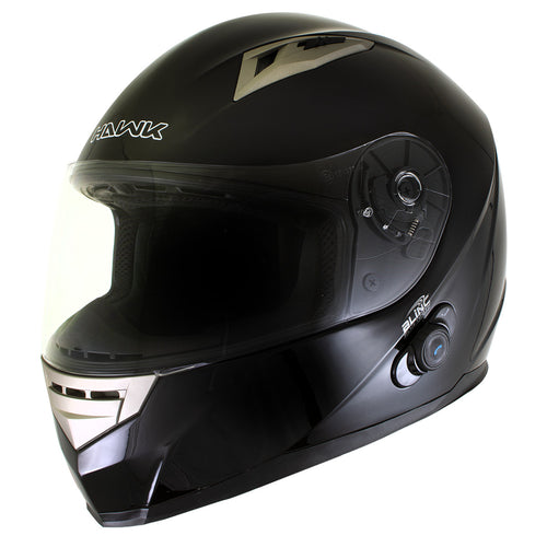 Hawk H-510 Glossy Black Bluetooth Full Face Motorcycle Helmet