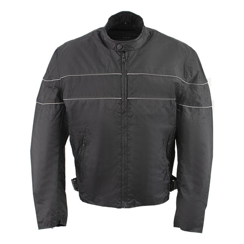 NexGen HW212102 Men's Black Nylon-Textile Vented Moto Jacket with Reflective Piping