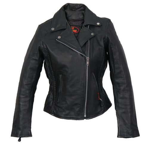 Hot Leathers JKL1009 Ladies Braided Motorcycle Leather Jacket