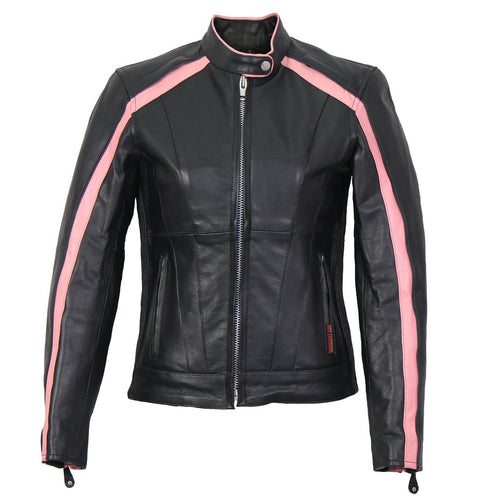 Hot Leathers JKL1022 Pink Striped Leather Jacket with Reflective Piping