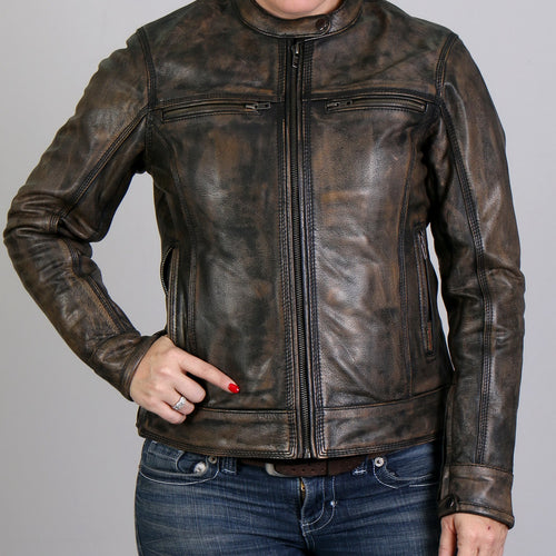 Hot Leathers JKL1024 Ladies Distressed Brown Leather Jacket with Gun Pockets