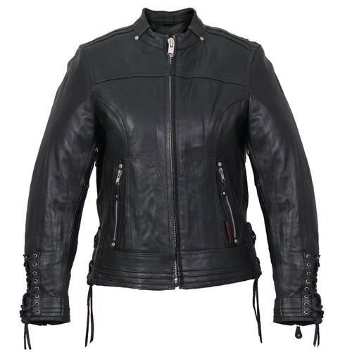 Hot Leathers JKL1025 Ladies Lace Up Sleeves Leather Jacket