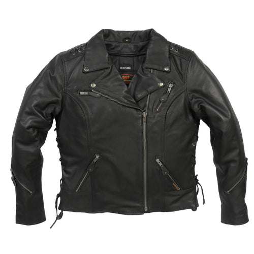 Hot Leathers JKL1027 Ladies Black Lace Detail Carry Conceal Leather Motorcycle Jacket