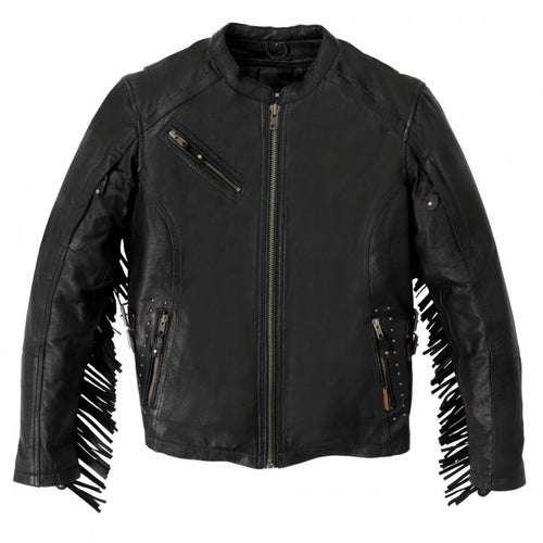 Hot Leathers JKL1028 Studs and Fringe Ladies Black Carry Conceal Leather Jacket
