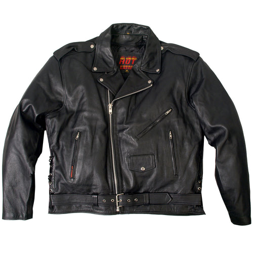 Hot Leathers JKM1002 Classic Men's Motorcycle Leather Jacket with Zip Out Lining