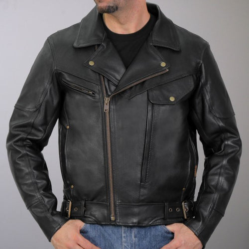 Hot Leathers JKM1022 Mens Motorcycle Leather Jacket with Concealed Carry Pocket