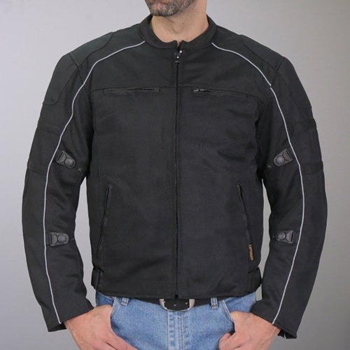 Hot Leathers JKM1024 Men's Black All Weather Armored Nylon Jacket with Concealed Carry Pocket
