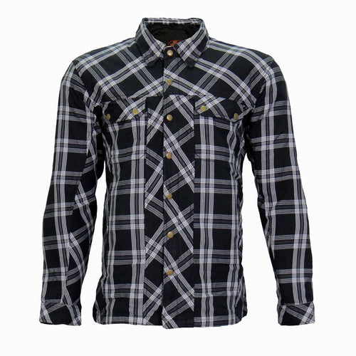 Hot Leathers JKM3002 Men's  Black and White Armored Flannel Jacket