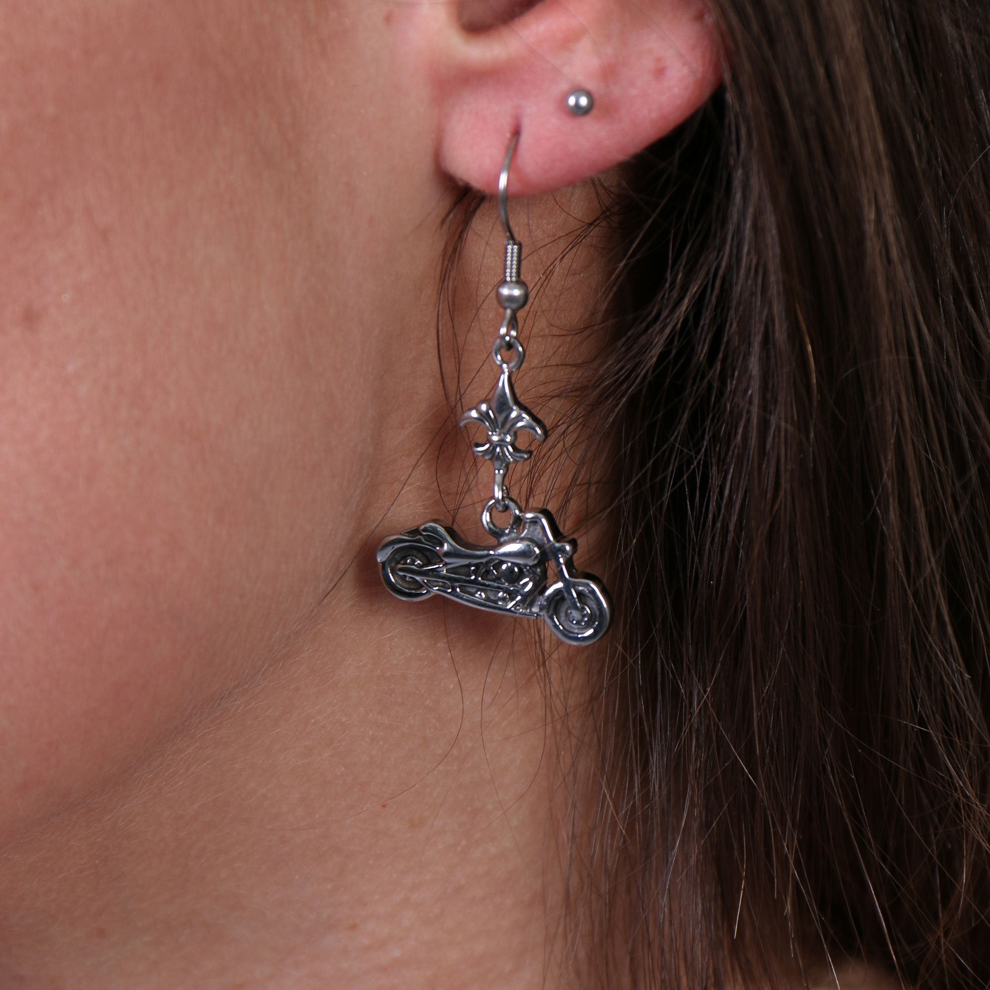 Hot Leathers JWE1105 Womens Motorcycle Fleur De Lis Earrings