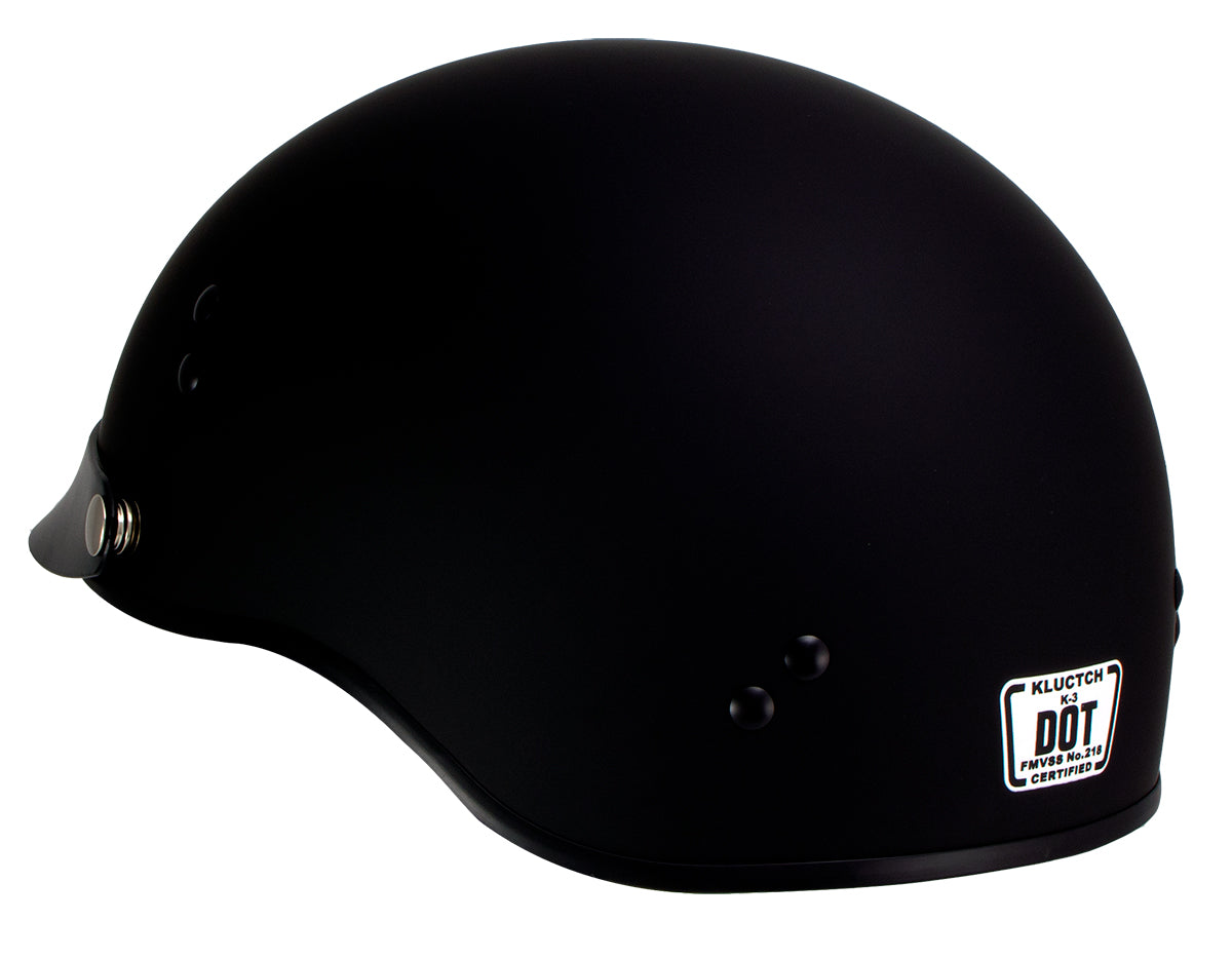 Klutch K-3 'Cruise' Flat Black Half Face Motorcycle Helmet with Snap