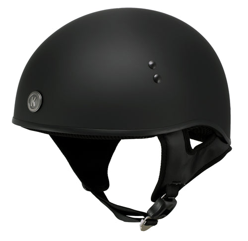 Klutch K-6 'Laid Low' Flat Black Half Face Motorcycle Skull Helmet