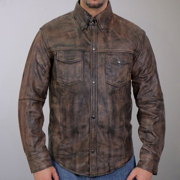Hot Leathers LCS1004 Mens Distressed Brown Leather Concealed Carry Shirt