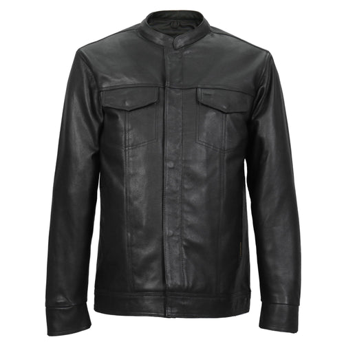Hot Leathers LCS1005 Mens Hidden Snap Concealed Carry Black Leather Shirt
