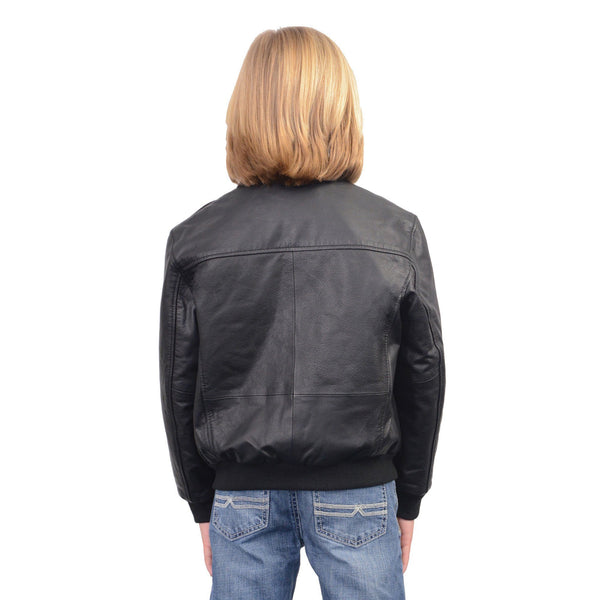 Milwaukee Leather LKK1930 Youth Size Black Leather Bomber Jacket
