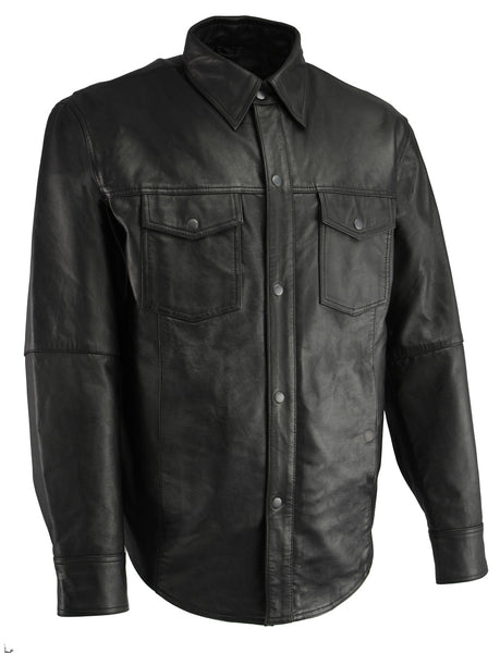 Milwaukee Leather LKM1601 Men's Black Lightweight Snap Front Leather Shirt