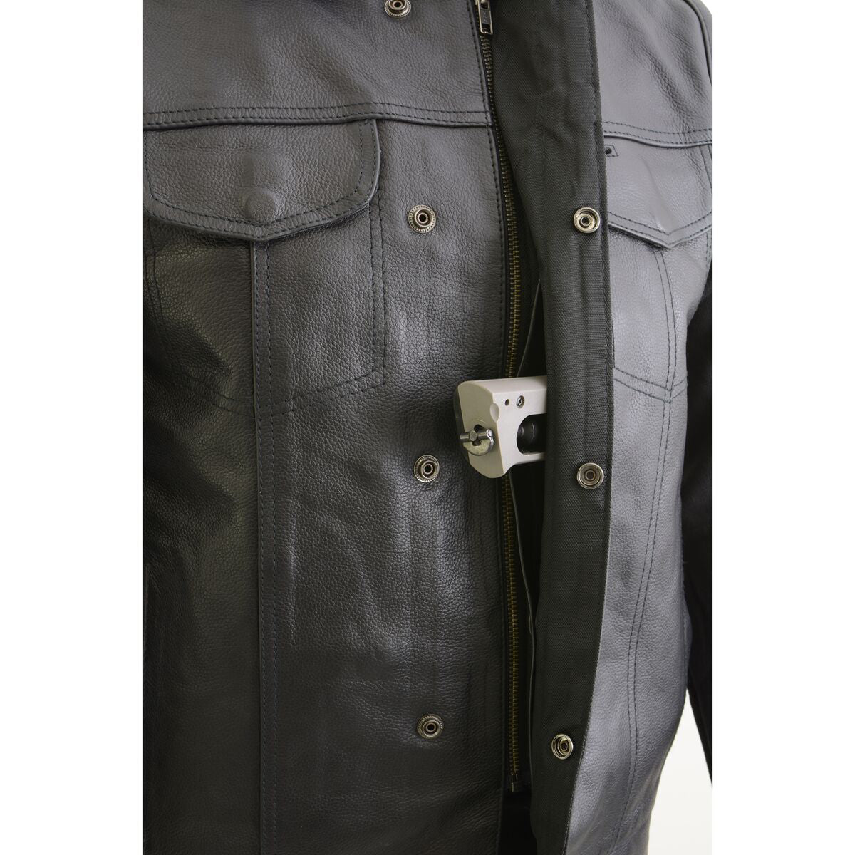 Milwaukee Leather LKM3714 Men's Black Leather Club Style Zipper Front