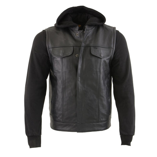 Milwaukee Leather LKM3714 Men's Black Leather Club Style Zipper Front Vest with Full Sleeve Hoodie and Quick Draw Pocket