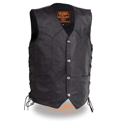 Milwaukee Leather LKY3860 Youth Size Black Leather Side Lace Biker Vest
