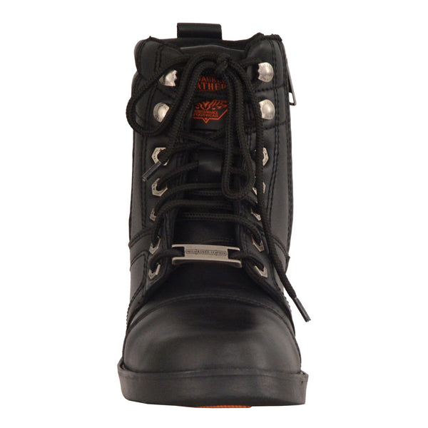 Milwaukee Leather MBK9255 Boys Black Lace-Up Boots with Side Zipper Entry