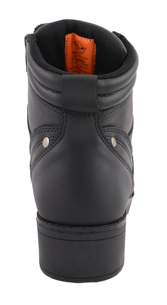 Milwaukee Leather MBK9265 Boys Black Lace-Up Boots with Side Zipper Entry