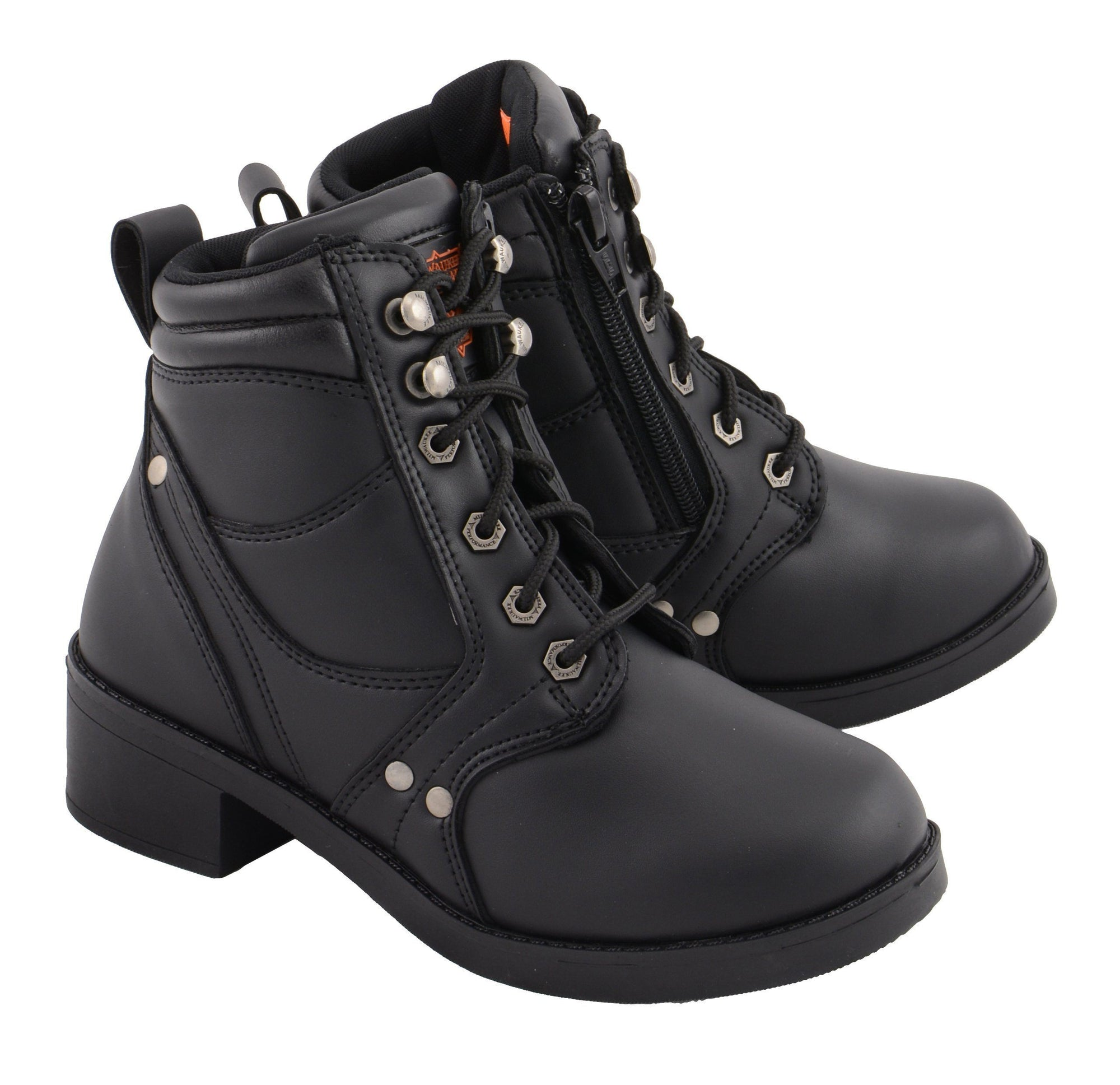 Milwaukee Leather MBK9265 Boys Black Lace-Up Boots with Side Zipper