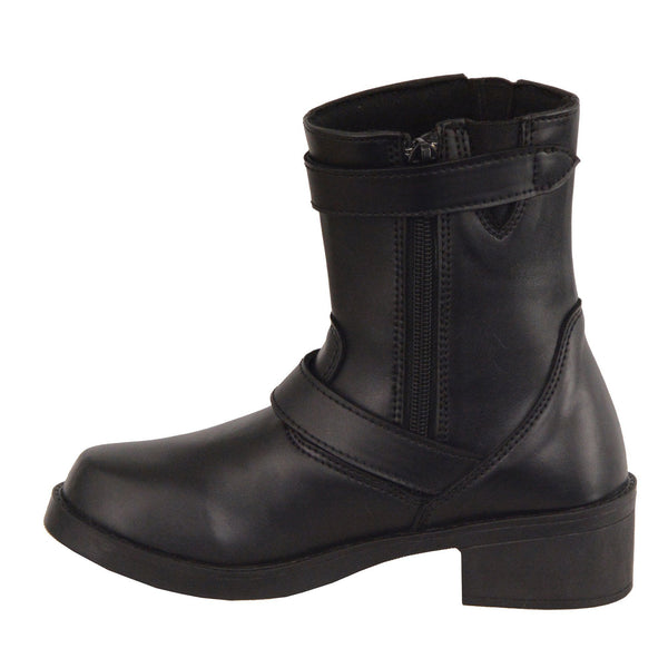 Milwaukee Leather MBK9290 Boys Black Classic Engineer Style Biker Boots