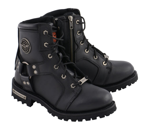 Milwaukee Leather MBL9302 Womens Black 8-Inch Lace-Up Harness Boots with Side Zipper Entry