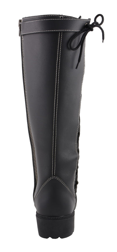 Milwaukee Leather MBL9370 Womens 17 Inch Black Lace Side Boot with