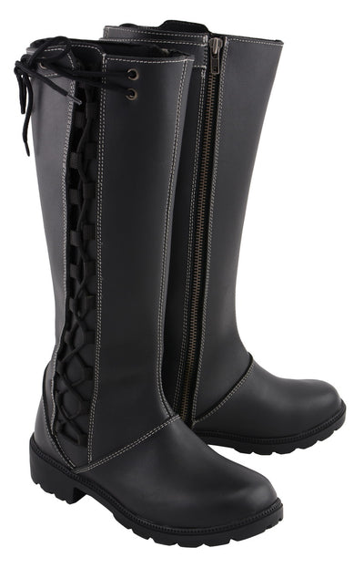 Milwaukee Leather MBL9370 Womens 17 Inch Black Lace Side Boot with Contrast White Stitching