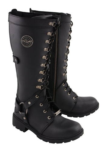Milwaukee Leather MBL9380 Womens 15 Inch Black Leather Combat Style Harness Boot