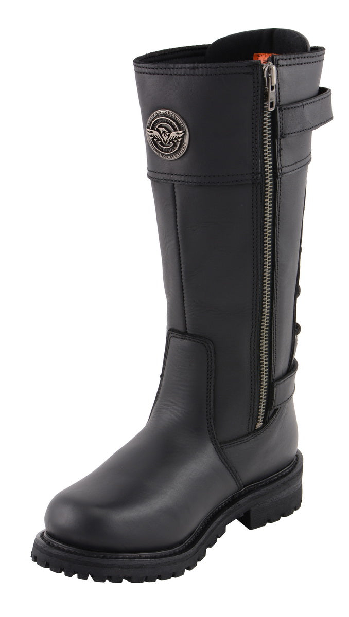Milwaukee Leather MBL9385 Womens Black 15 Inch Calf Laced Leather