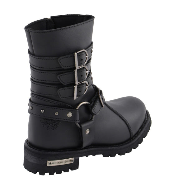 Milwaukee Leather MBL9399 Women's 9 Inch Black Triple Buckle Leather Harness Boots with Side Zipper Entry