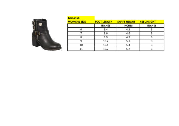 Milwaukee Performance MBL9405 Womens Black Boots with Side Zipper and