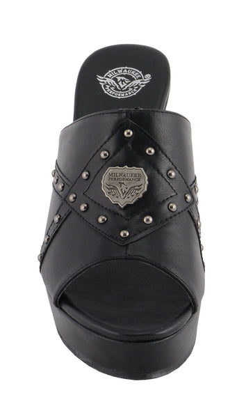 Milwaukee Performance MBL9407 Women's Black Open Toe Wedge Sandals with Studs