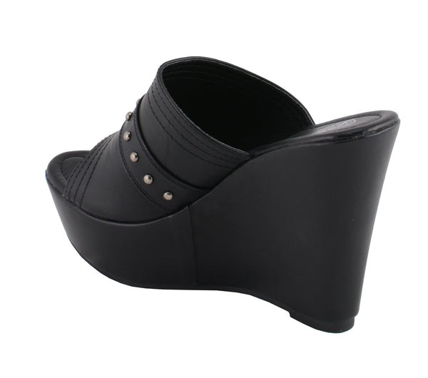 Milwaukee Performance MBL9408 Womens Black Open Toe Platform Wedges with Rivet Details